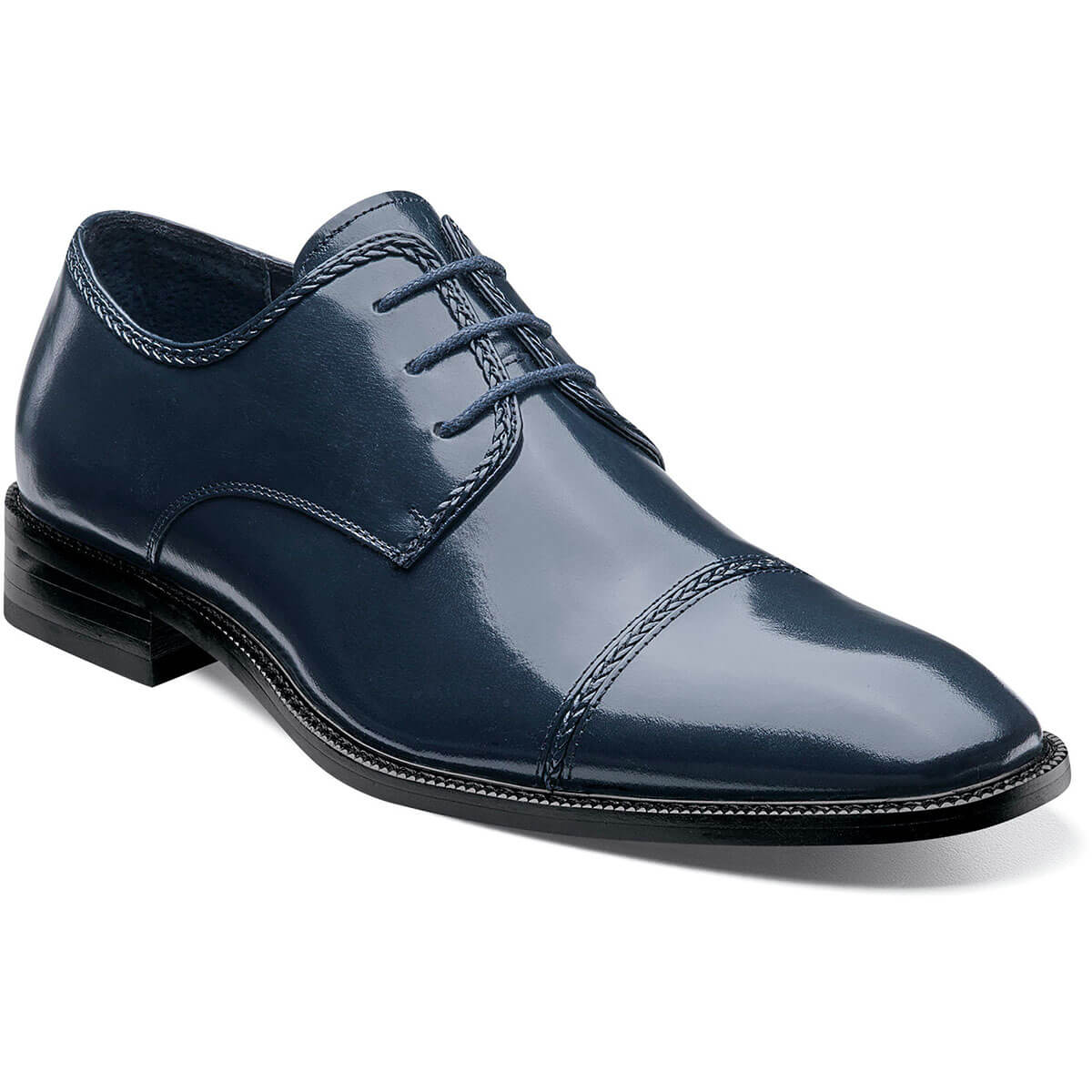 Stacy Adams Brayden Cap Toe Oxford - Navy Shoes - Dapperfam.com