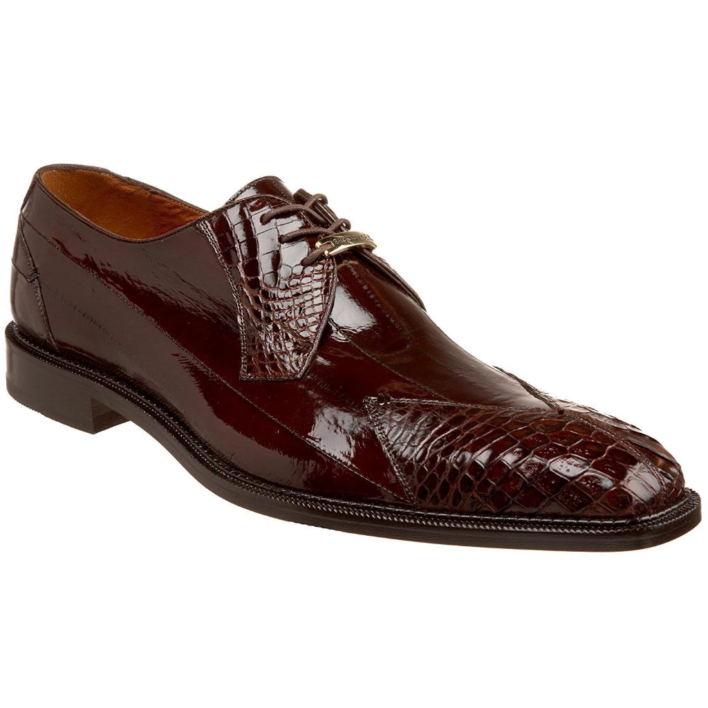 Belvedere Prato Crocodile Oxford - Brown Shoes - Dapperfam.com