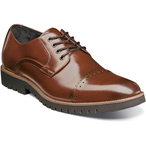 Stacy Adams Barcliff Cap Toe Oxford - Cognac Shoes - Dapperfam.com