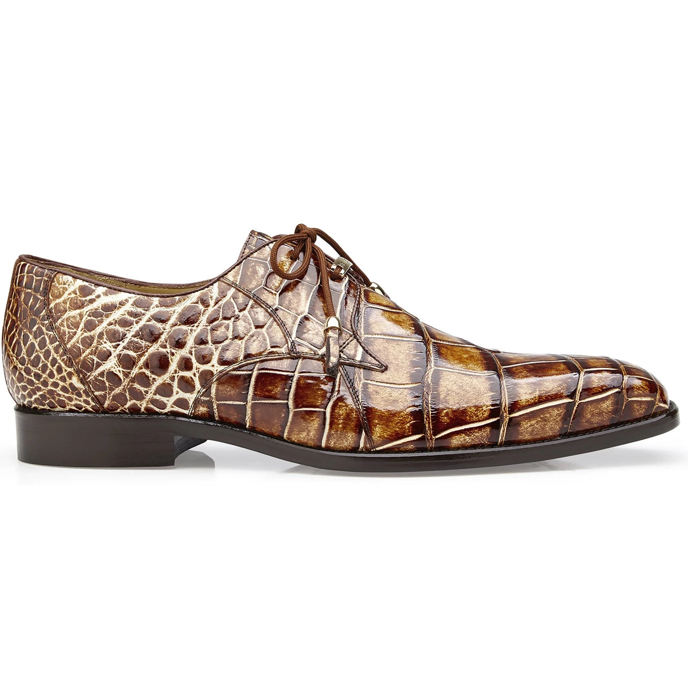 Belvedere Alfred Alligator Skin Lace Up Oxford - Caramel - Dapperfam.com