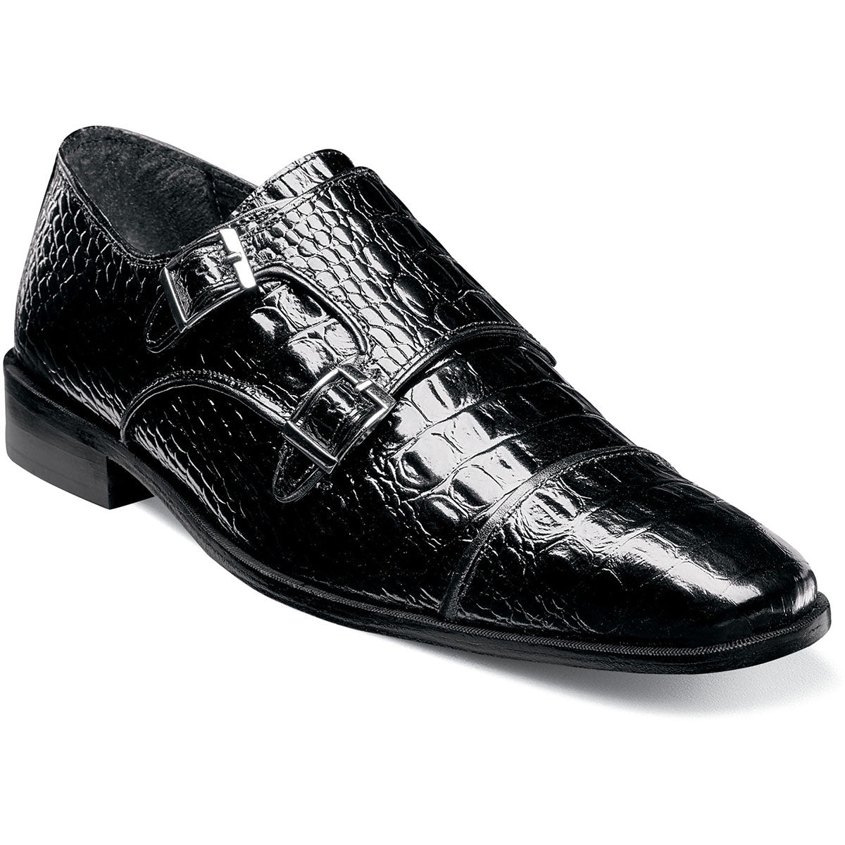 Stacy Adams Golato Cap Toe Double Monk Strap - Black Shoes - Dapperfam.com