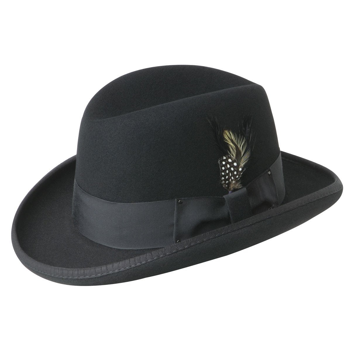 Bailey `Godfather` Homburg Crown Wool Felt - Black Hat - Dapperfam.com