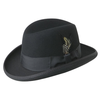 "Bailey ""Godfather"" Homburg Crown Wool Felt - Black Hat - Dapperfam.com"