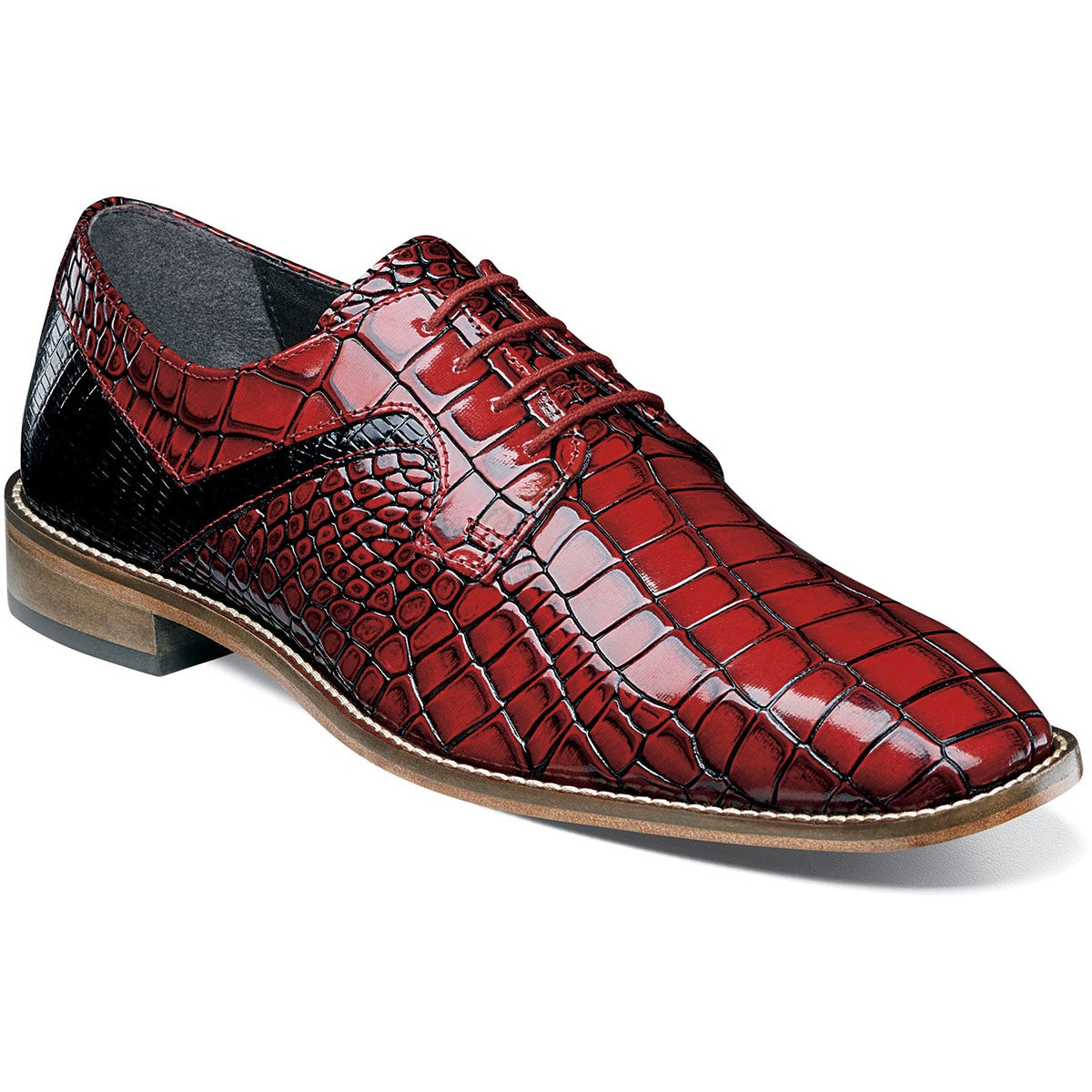 Stacy Adams Triolo Plain Toe Oxford - Black / Red Shoes - Dapperfam.com
