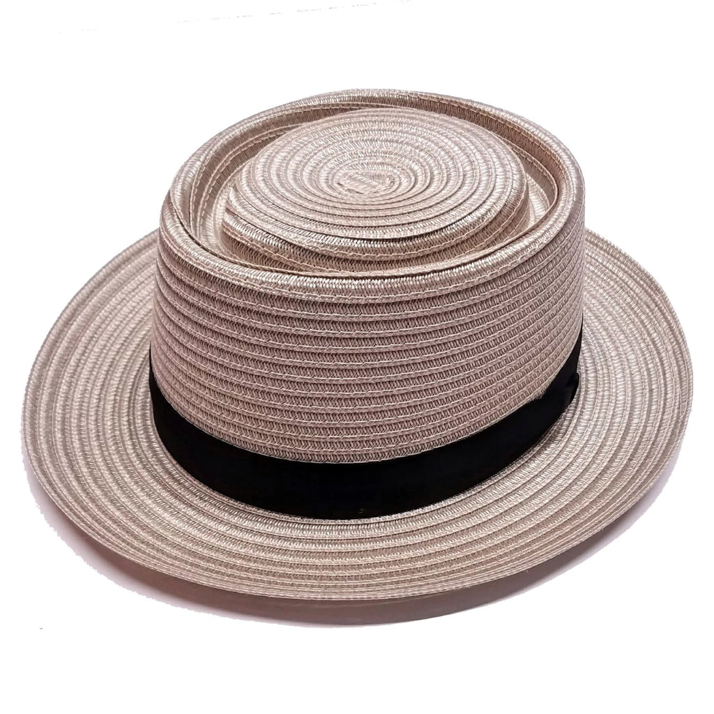 Dobbs Oakdale Milan Straw Pork Pie Hat - Grey Hat - Dapperfam.com