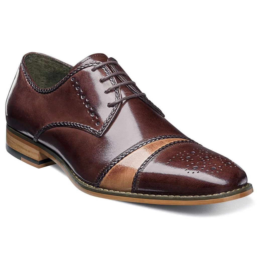 Stacy Adams Talbot Cap Toe Oxford - Brown Multi Shoes - Dapperfam.com