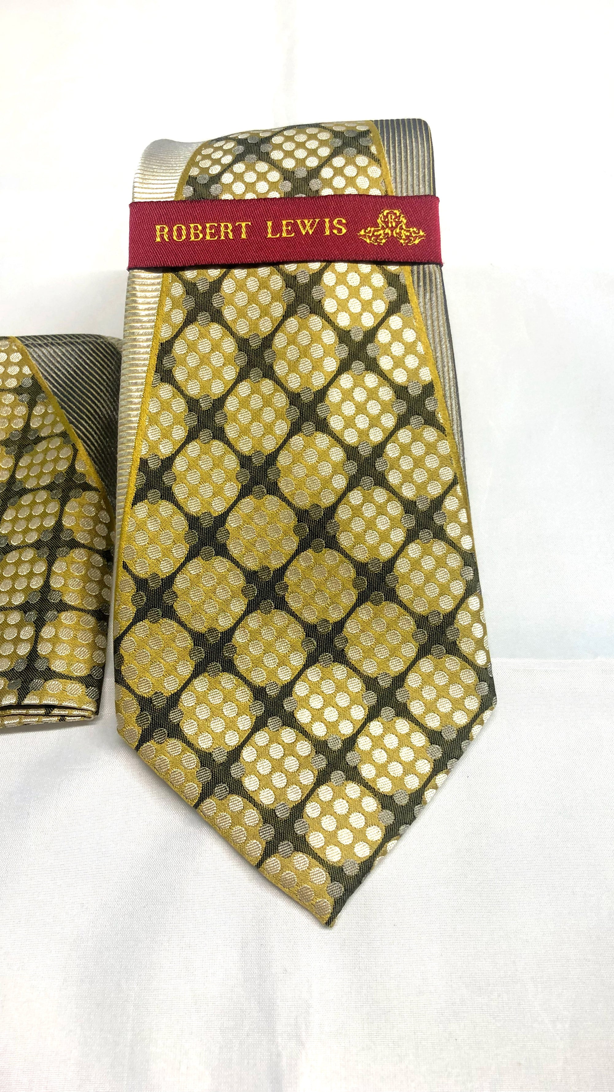 Robert Lewis Tie and Hankie Set - Gold Necktie - Dapperfam.com