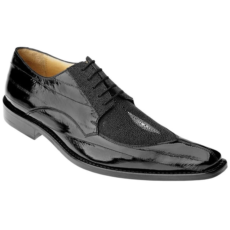 Belvedere Milan Stingray And Eel Skin Oxford - Black - Dapperfam.com