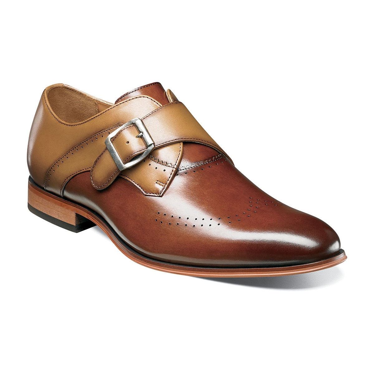 Stacy Adams Saxton Perfed Wingtip Monk Strap - Cognac Multi