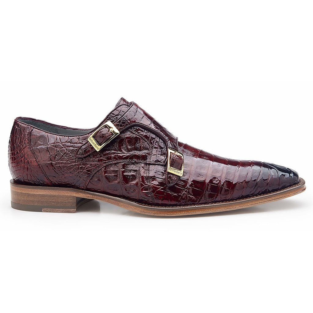 Belvedere Caiman Antique Merlot Double Monk Strap Oxford - Merlot - Dapperfam.com
