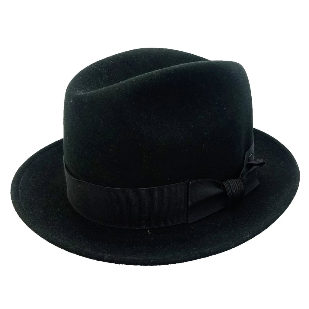 Gotham Crushable Wool Fedora - Black Hat - Dapperfam.com