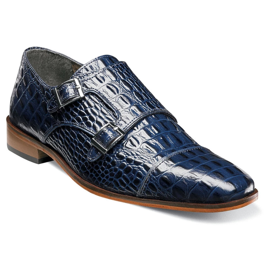 Stacy Adams Golato Cap Toe Double Monk Strap - Blue