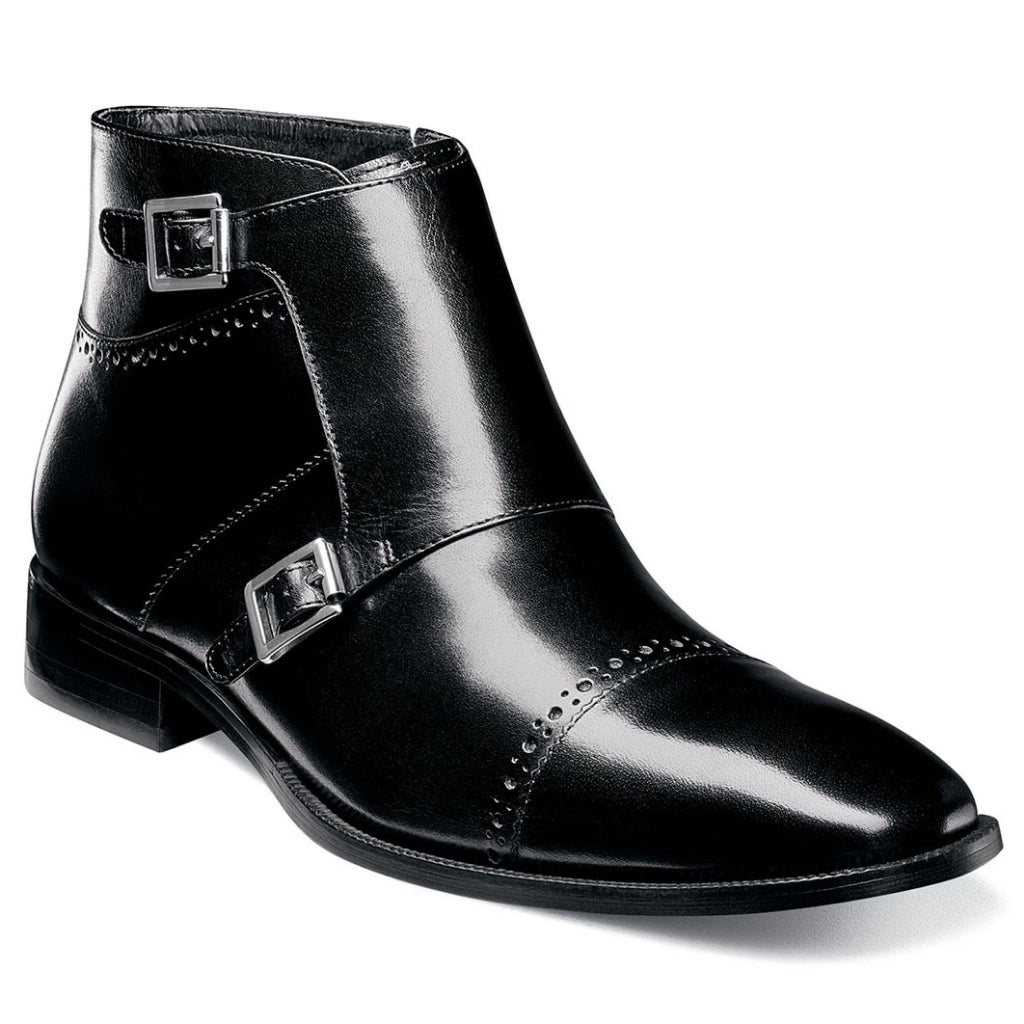 Stacy Adams Kason Captoe Double Monk Boot - Black Shoes - Dapperfam.com