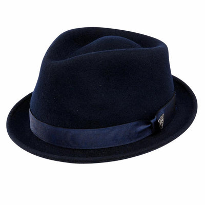 Dobbs Shorty Wool Stingy Brim Fedora - Navy Hat - Dapperfam.com
