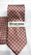 Stacy Adams Tie and Hankie Set SA017 -  Rose Gold Houndstooth Necktie - Dapperfam.com