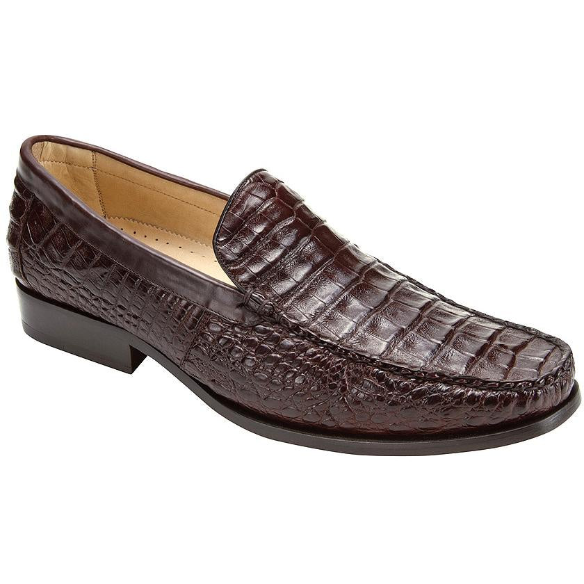Belvedere Villa Genuine Crocodile Loafer - Dark Brown Shoes - Dapperfam.com