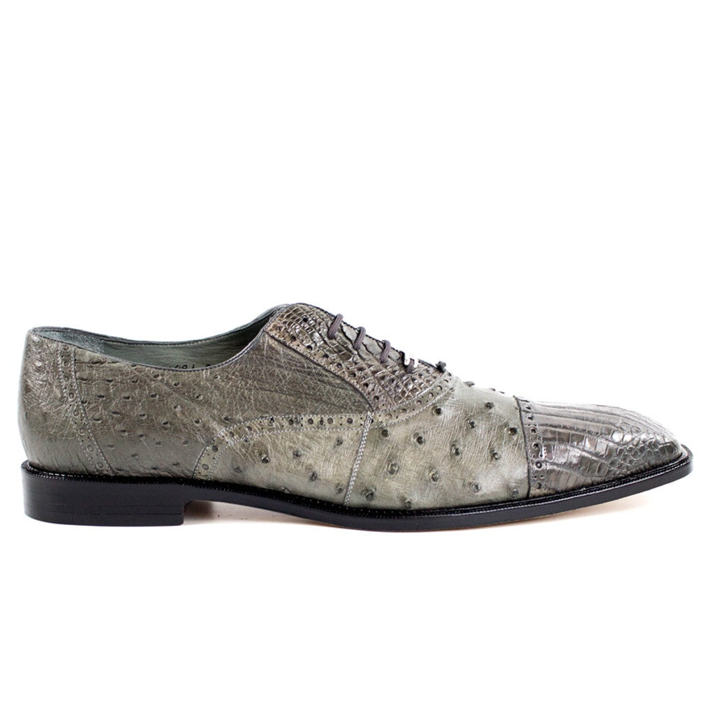 Belvedere Onesto II Ostrich And Crocodile Lace Up Oxford - Grey - Dapperfam.com