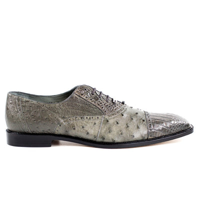 Belvedere Onesto II Ostrich & Crocodile Lace Up Oxford - Grey Shoes - Dapperfam.com