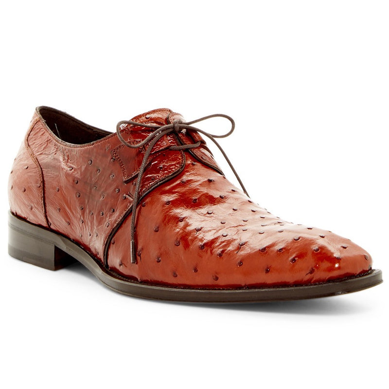 Mezlan Worth Genuine Ostrich Lace Up Oxford, Floor Model - Brandy Shoes - Dapperfam.com