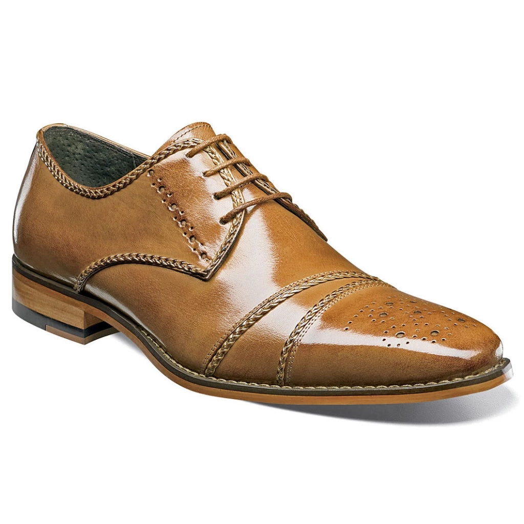Stacy Adams Talbot Cap Toe Oxford - Tan Shoes - Dapperfam.com