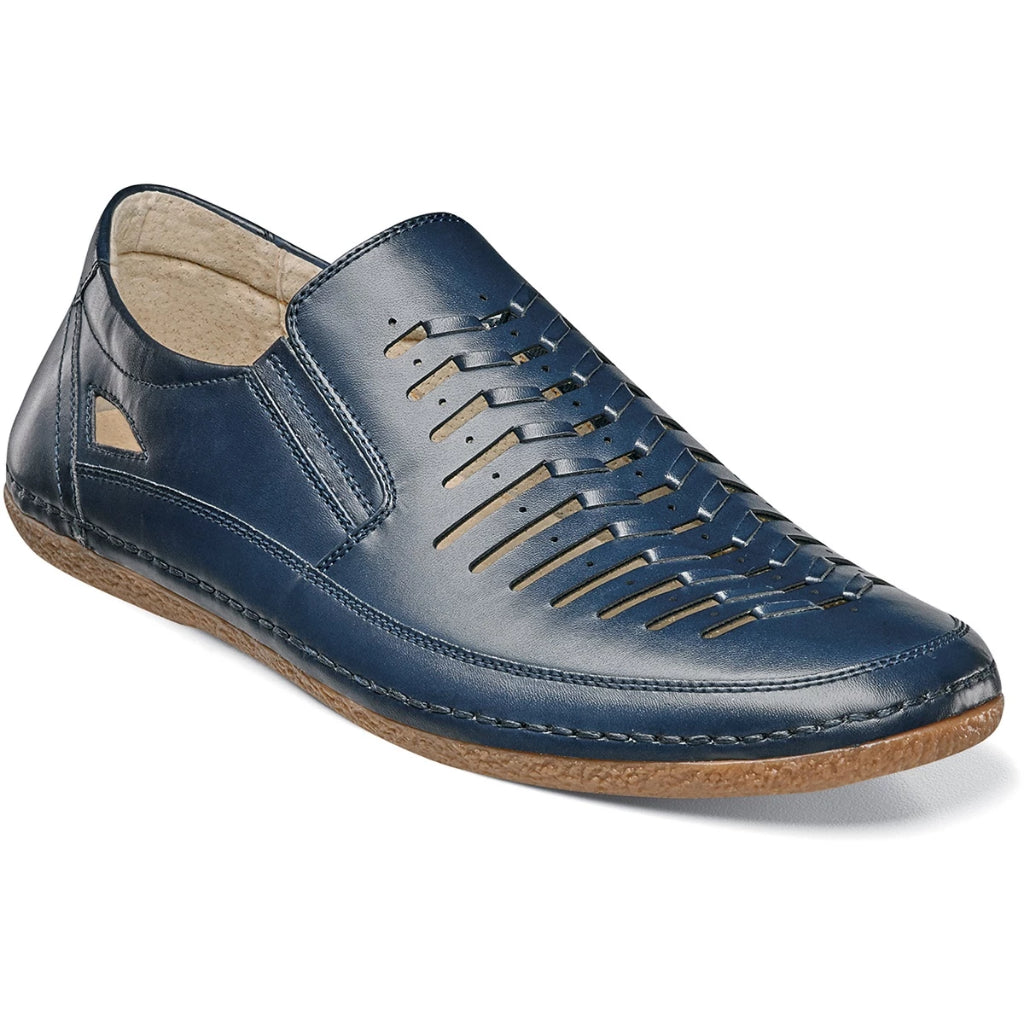 Stacy Adams Naples Moc Toe Slip-On - Navy Shoes - Dapperfam.com