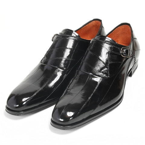 Mezlan Orleans Eel Skin - Black Shoes - Dapperfam.com