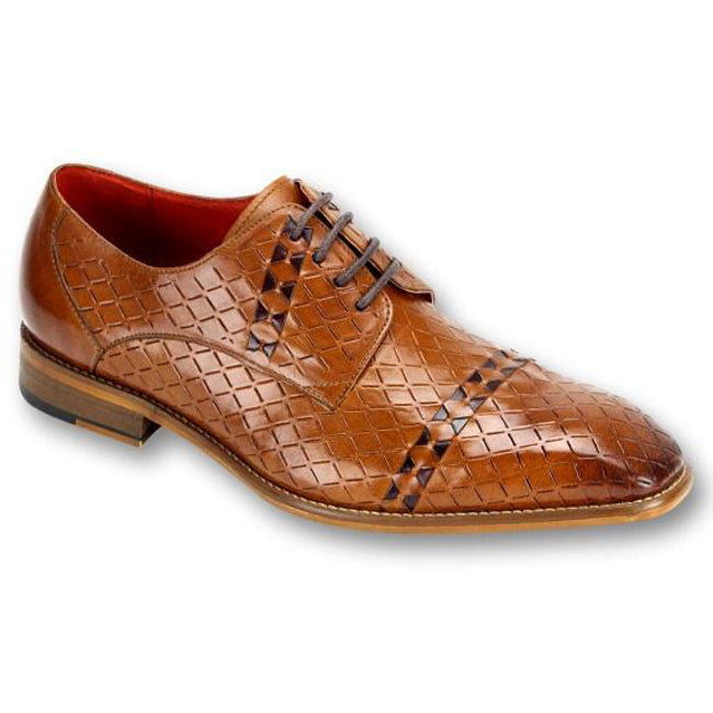 Steven Land Diamond Embossed Woven Leather Oxford - Tan / Chocolate Brown Shoes - Dapperfam.com