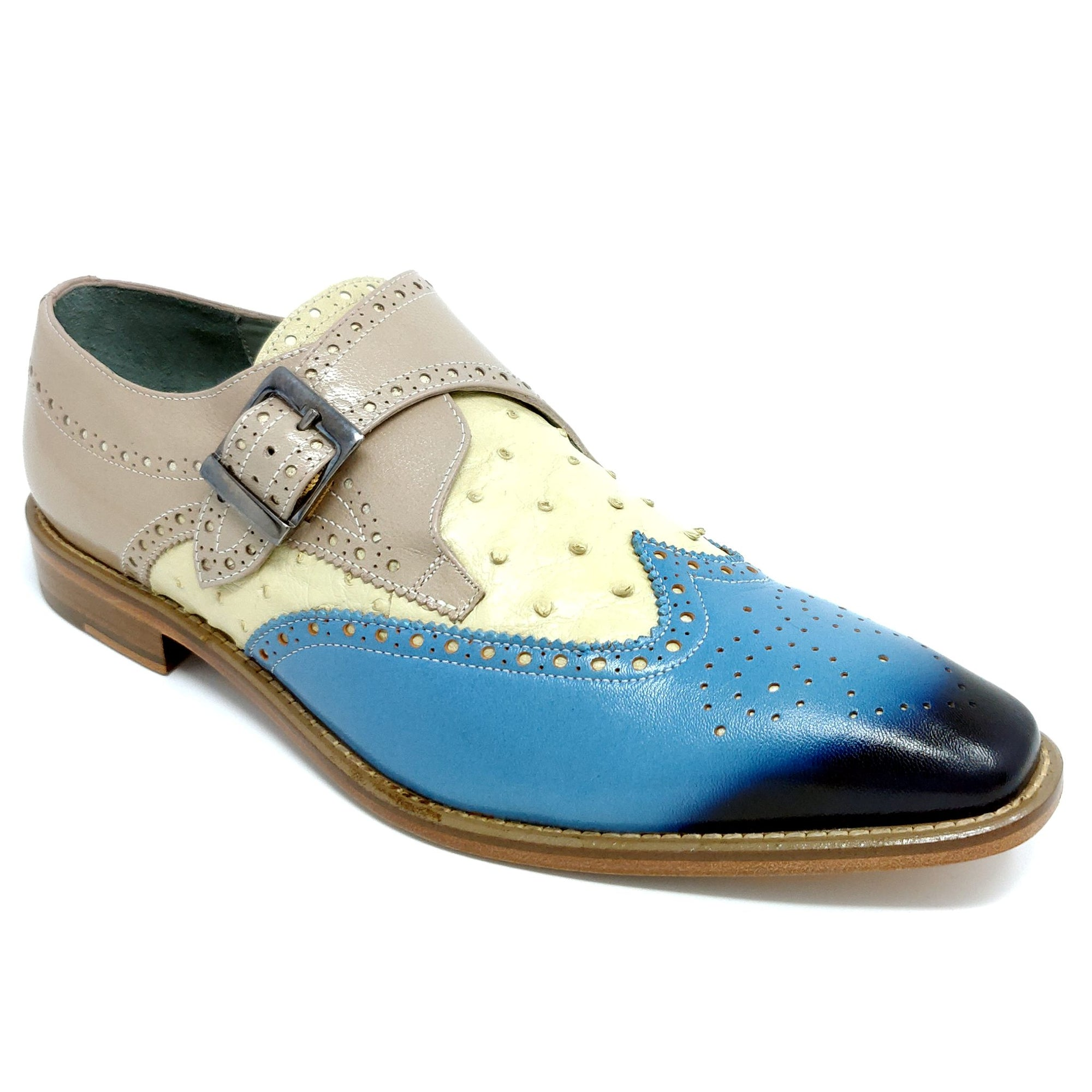 Belvedere Furio, Genuine Ostrich and Italian Calf Monk Strap Wing Tip - Light Blue / Bone / Taupe Shoes - Dapperfam.com
