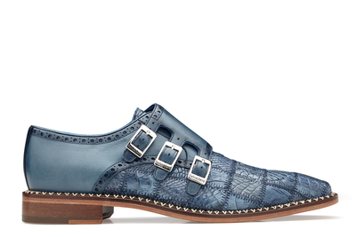 Hurricane - Blue Jean Caiman Crocodile Monkstrap Loafers