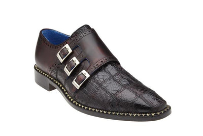 Hurricane - Black Cherry Caiman Crocodile Monkstrap Loafers