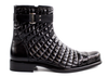 Libero - Black Genuine Alligator & Soft Quilted Leather Boots