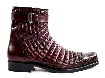 Libero - Antique Wine Genuine Alligator & Soft Quilted Leather Boots