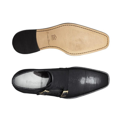 Pablo - Black Lizard & Ostrich Monkstraps Loafers
