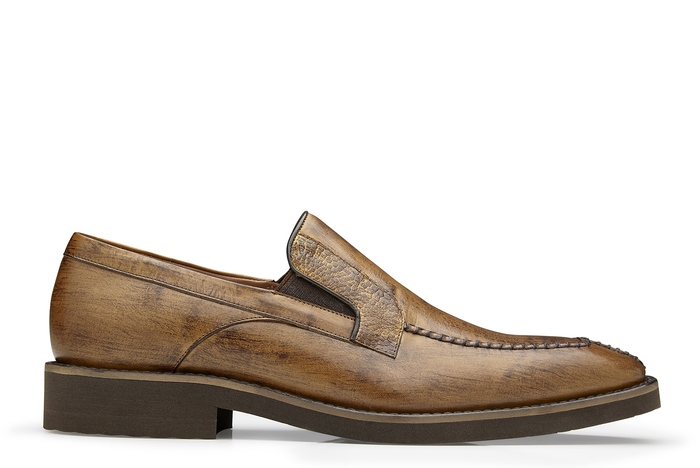 Pietro - Antique Almond Ostrich & Calf-Skin Leather Loafers