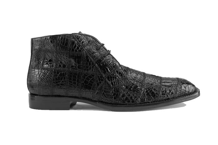 Racer - Black Genuine Caiman Crocodile Boots