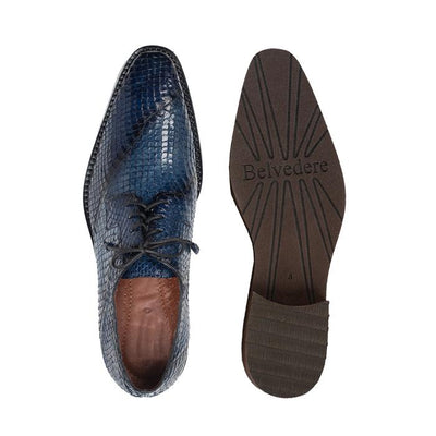 Tony - Antique Ocean Blue Genuine Snake Dress Shoes