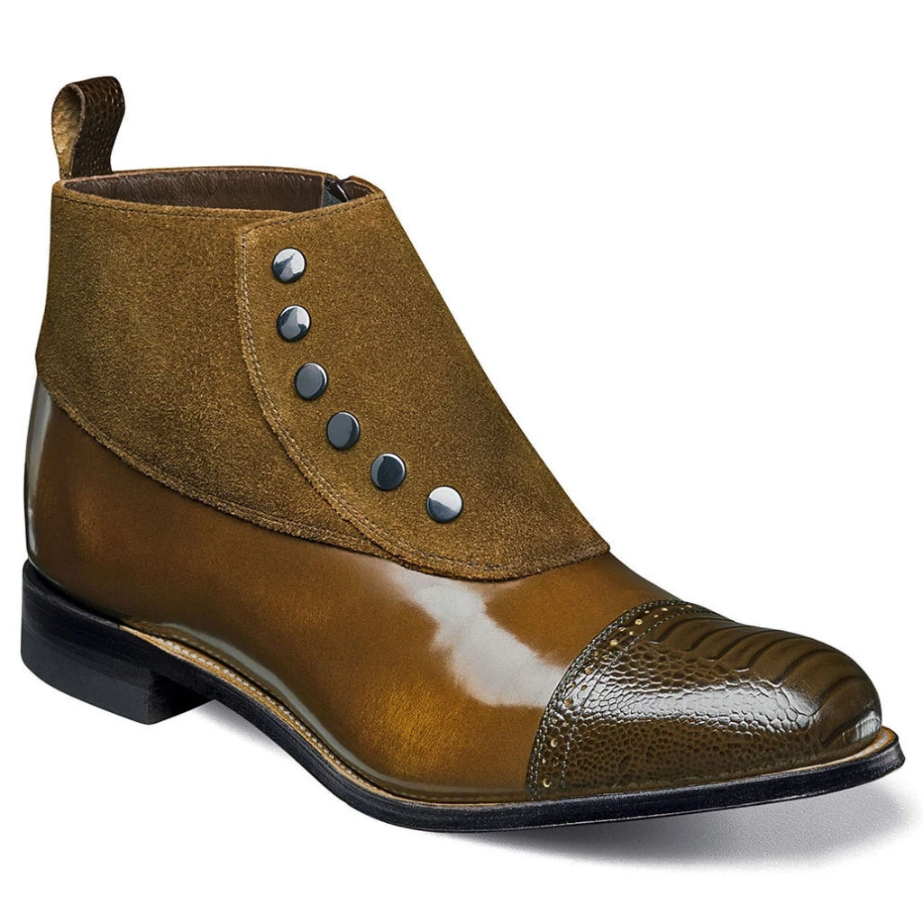 Stacy Adams Madison Suede Cap Toe Spat Boot - Brown / Scotch Shoes - Dapperfam.com