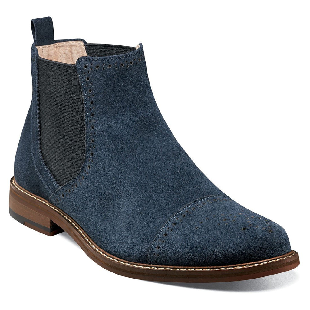 Stacy Adams Abner Cap Toe Chelsea Boot - Navy Suede Shoes - Dapperfam.com