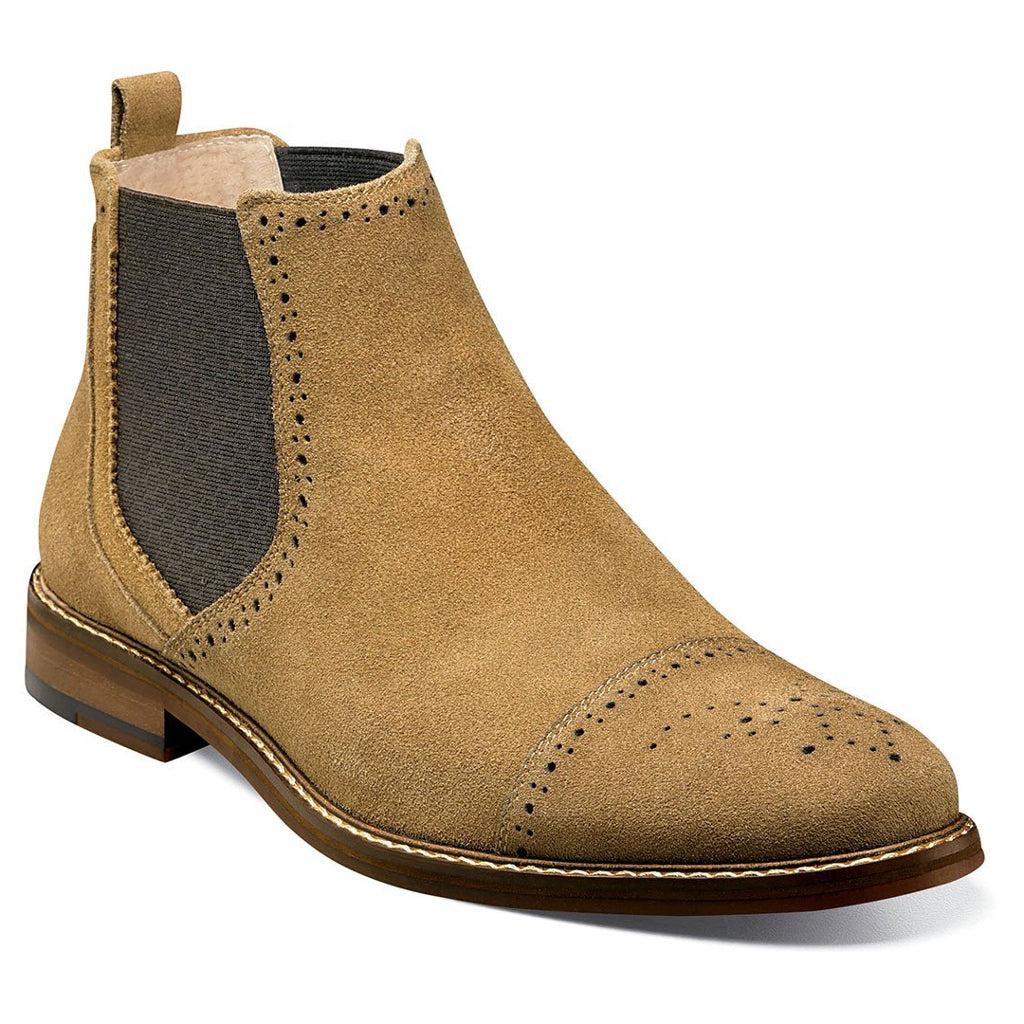 Stacy Adams Abner Cap Toe Chelsea Boot - Tan Suede Shoes - Dapperfam.com