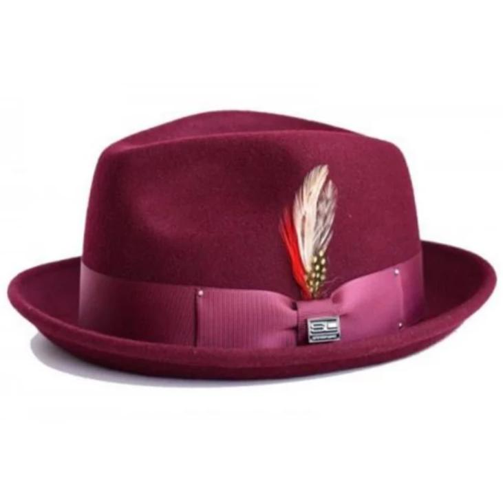 Steven Land Ayden Collection Wool Fedora - Burgundy Hat - Dapperfam.com