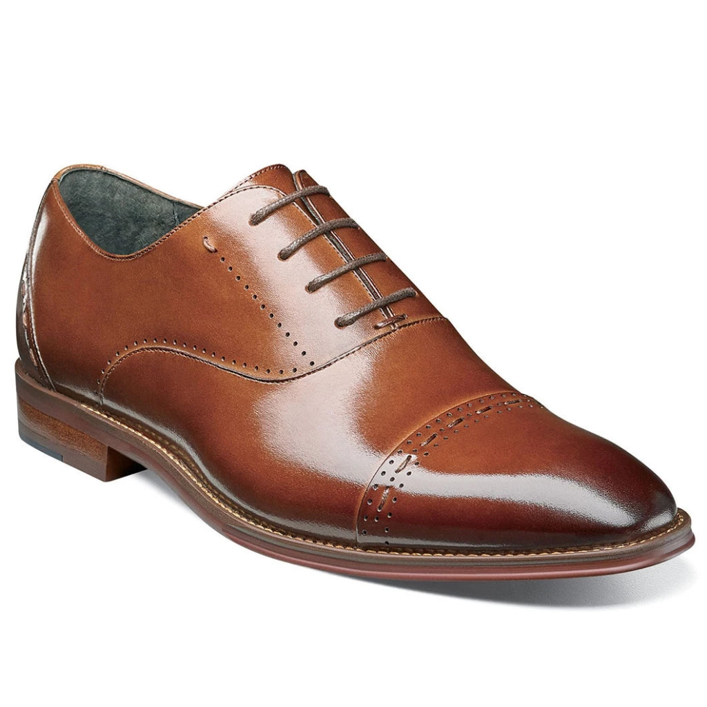Stacy Adams Barris Cap Toe Oxford - Cognac Shoes - Dapperfam.com