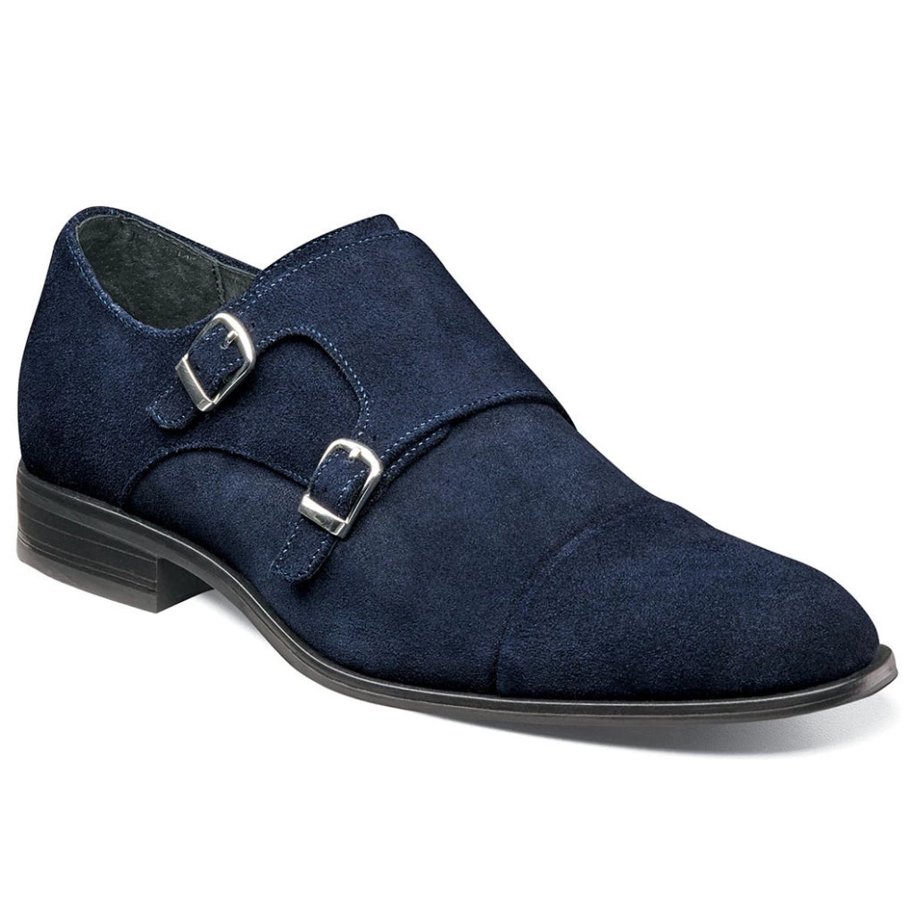 Stacy Adams Slocomb Suede Double Monk Strap - Navy