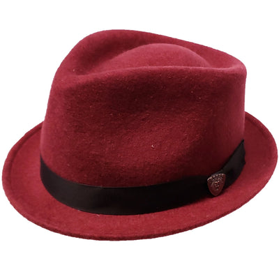 Dobbs Shorty Stingy Brim Fedora - Burgundy Hat - Dapperfam.com