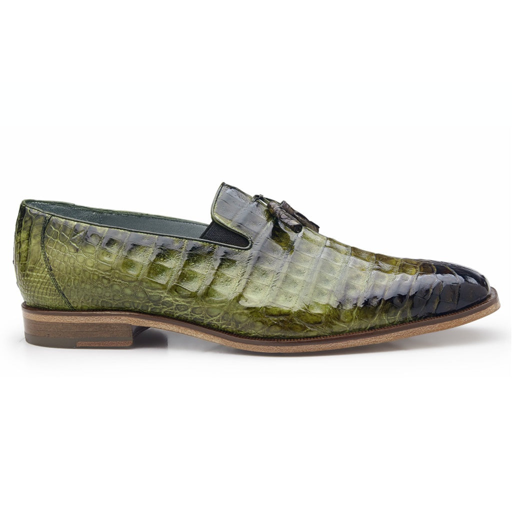 Belvedere Victorio Genuine Crocodile Loafer - Antiqued Forest Shoes - Dapperfam.com