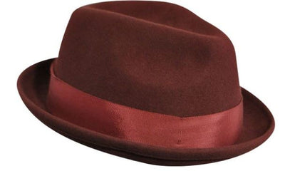 Bailey Cloyd Wool Felt Center Dent Fedora - Oxblood Hat - Dapperfam.com