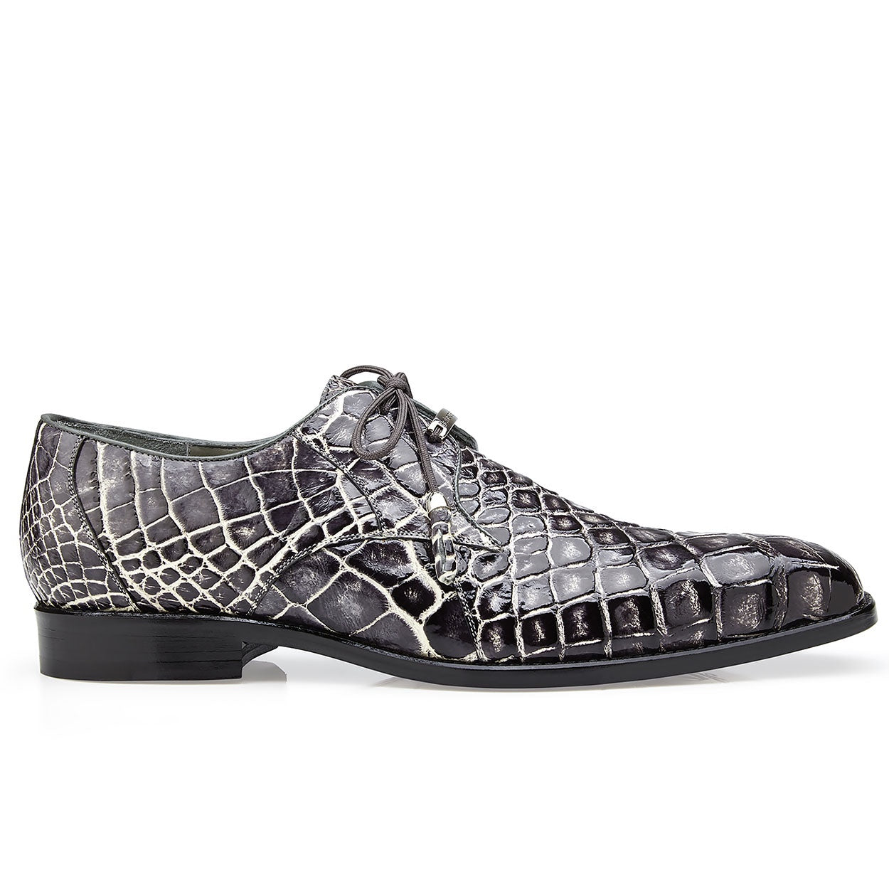 Belvedere Alfred Alligator Skin Lace Up Oxford - Black Rust - Dapperfam.com