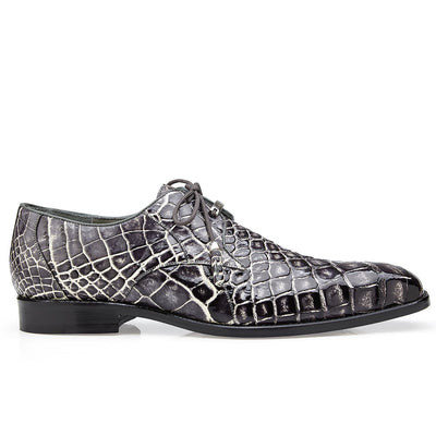 Belvedere Alfred Alligator Skin Lace Up Oxford - Black Rust Shoes - Dapperfam.com