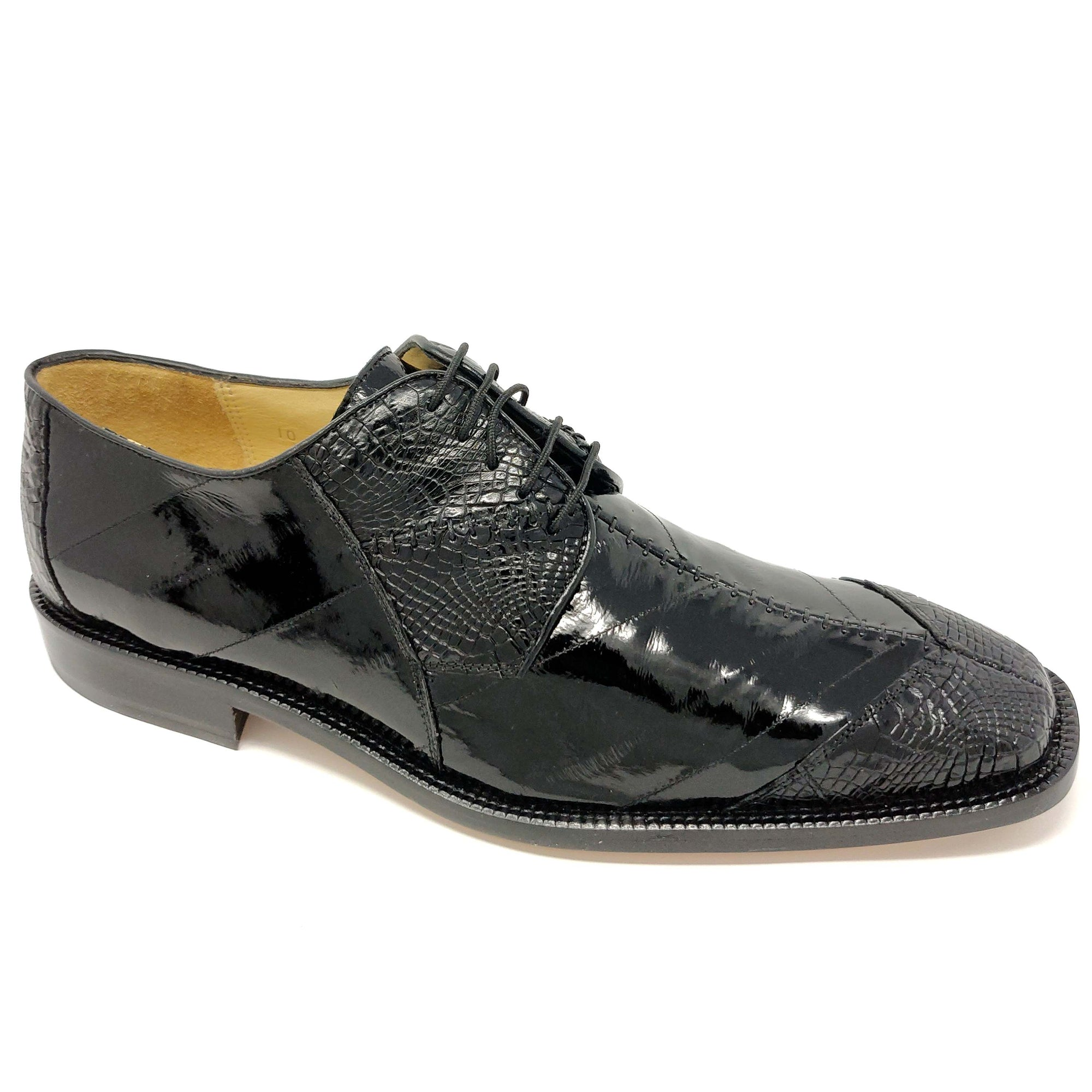 Belvedere Nome Genuine Eel and Alligator Oxford - Black - Dapperfam.com