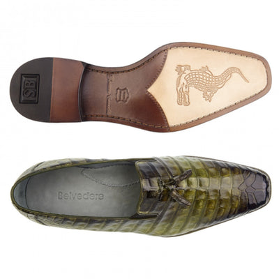 Belvedere Victorio Genuine Crocodile Loafer - Antiqued Forest - Dapperfam.com