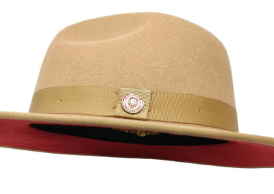 Bruno Capelo Monarch Wide Brim Red Bottom Fedora Hat - Dapperfam.com